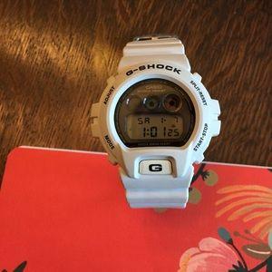 Light gray white Casio G-Shock.